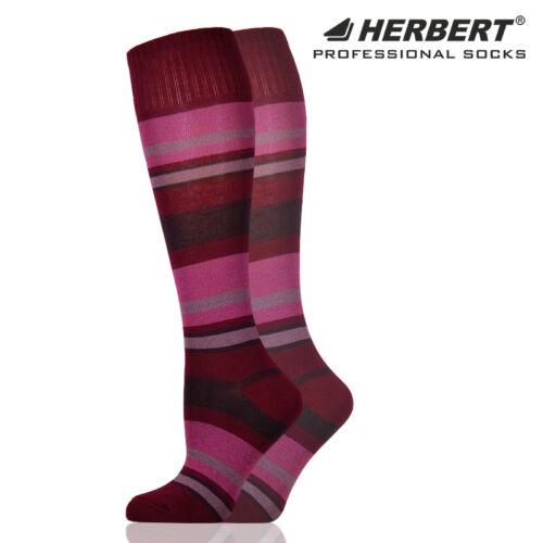 Herbert felnőtt térdzokni bordó csíkozással