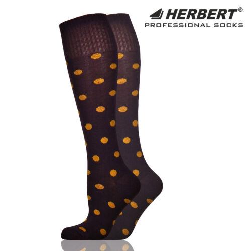 Herbert felnőtt térdzokni mustársárga pöttyökkel